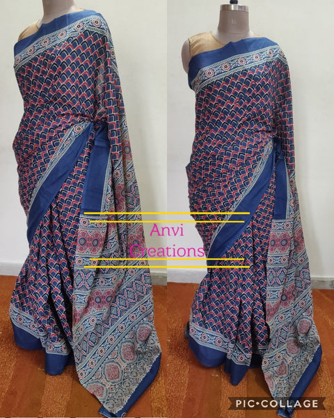 Exclusive Blue Hand Block Printed Mulmul Cotton saree AA14