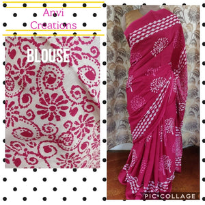 Exclusive Pink Hand Block Printed Mulmul Cotton saree AA15 - Ethnic's By Anvi Creations