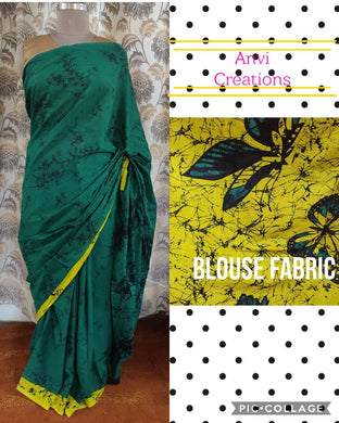 Exclusive Bottle Green Hand Block Printed Mulmul Cotton saree AA01 - Ethnic's By Anvi Creations