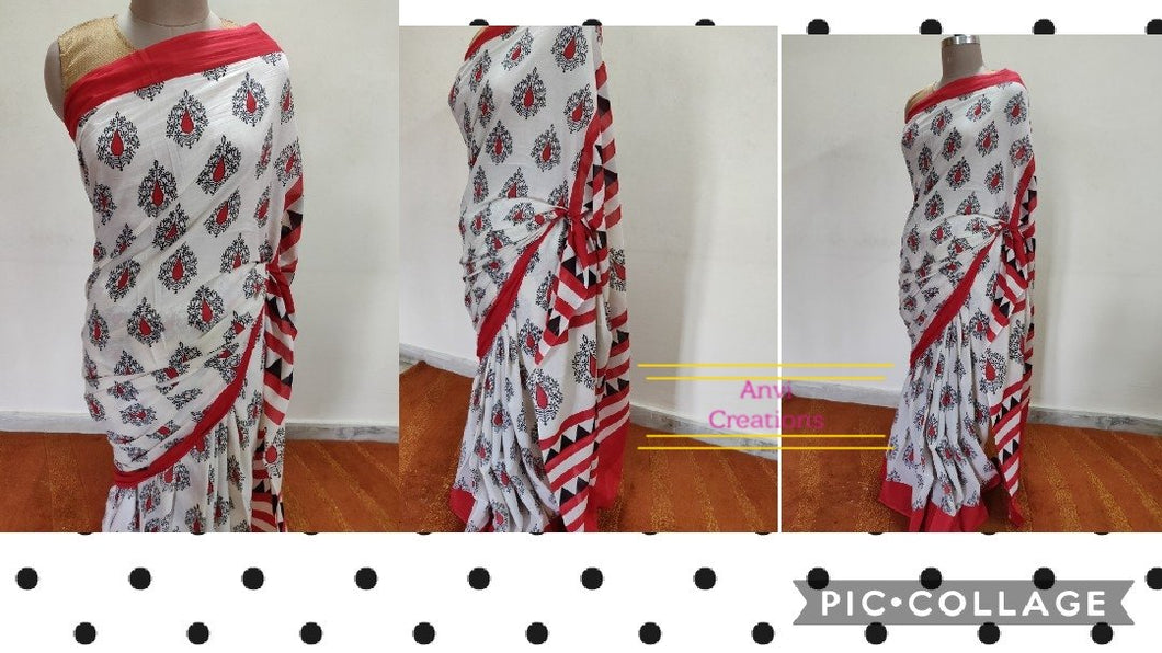 Copy of Exclusive Off white Hand Block Printed Mulmul Cotton saree AA02 - Ethnic's By Anvi Creations