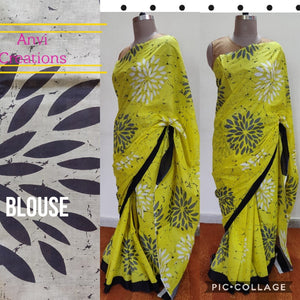 Exclusive Lemon Yellow Batik Hand Block Printed Mulmul Cotton saree AA05 - Ethnic's By Anvi Creations