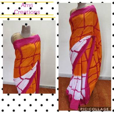 Exclusive Orange Hand Block Printed Mulmul Cotton saree AA06 - Ethnic's By Anvi Creations