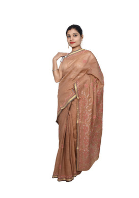 Light Brown Handloom Cotton Chikankari Saree ACC09