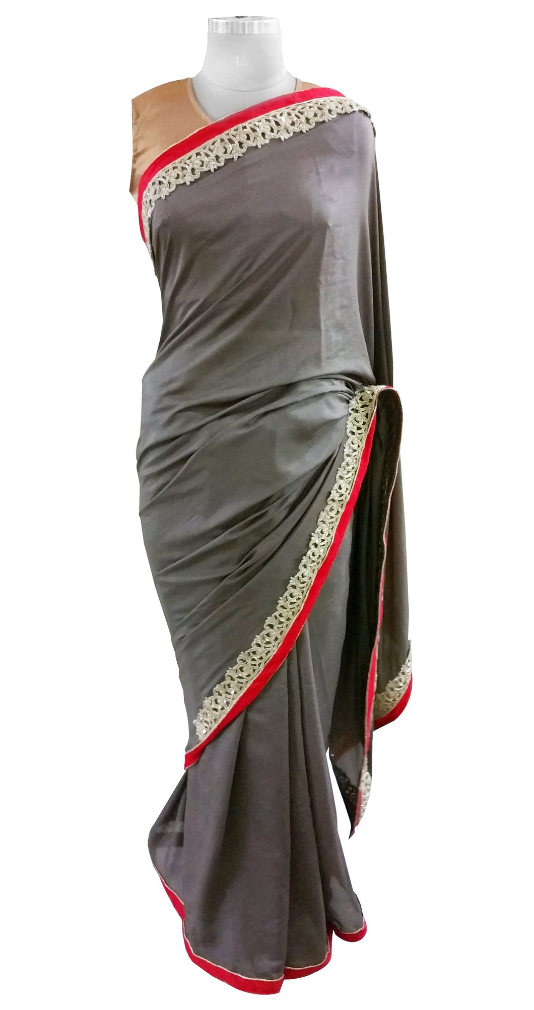 Corain Silk Gray Zardozi Border Saree With Heavy Blouse Fabric ACC105 - Ethnic's By Anvi Creations