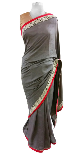 Corain Silk Gray Zardozi Border Saree With Heavy Blouse Fabric ACC105