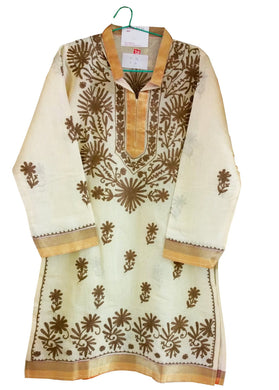 Yellow Chanderi cotton Stitched Kurta Dress Size 36 ACC22 - Ethnic's By Anvi Creations