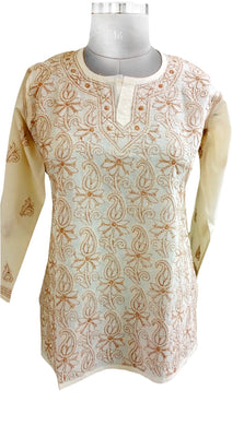 Beige Cotton Stitched Top Dress Size 40 ACC24 - Ethnic's By Anvi Creations