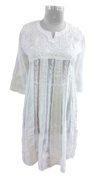 White Cotton & Grg. Stitched Kurta Dress Size 36, 38, 42 ACC26