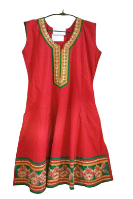 Red Cotton Anarkali Stitched Cotton Kurta Dress Size 38 ACC32 - Ethnic's By Anvi Creations