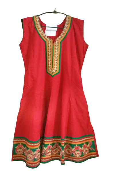 Red Cotton Anarkali Stitched Cotton Kurta Dress Size 38 ACC32