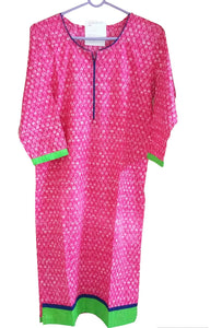 Pink Cotton Long Stitched Kurta With Jacket Dress Size 38 ACC36 - Ethnic's By Anvi Creations