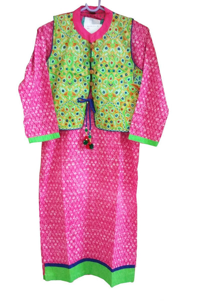 Pink Cotton Long Stitched Kurta With Jacket Dress Size 38 ACC36