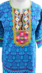 Blue Cotton Neck Work Long Stitched Kurta Dress Size 42 ACC39 - Ethnic's By Anvi Creations