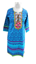 Load image into Gallery viewer, Blue Cotton Neck Work Long Stitched Kurta Dress Size 42 ACC39 - Ethnic's By Anvi Creations