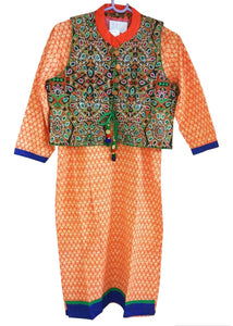 Orange Cotton Stitched Kurta With Embroidered Jacket Dress Size 38 ACC40 - Ethnic's By Anvi Creations