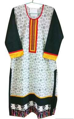 White Cotton Long Stitched Kurta Dress Size 38  ACC41 - Ethnic's By Anvi Creations