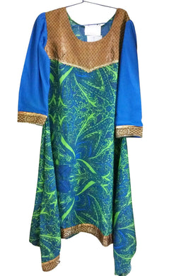 Green Crepe with lining asymetrical Stitched Kurta Dress Size 38 ACC43 - Ethnic's By Anvi Creations