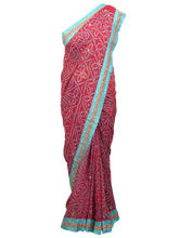 Load image into Gallery viewer, Designer Pink Semi Georgette Highlight work Bandhej Bandhini Saree ACC68