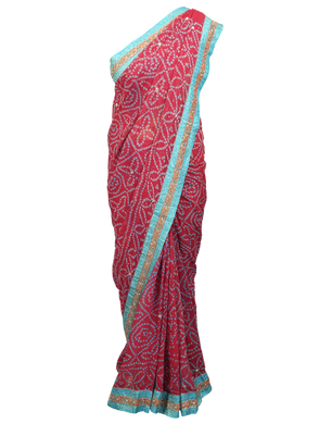 Designer Pink Semi Georgette Highlight work Bandhej Bandhini Saree ACC68