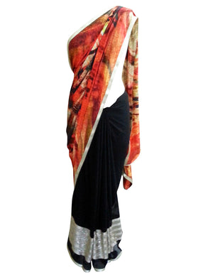 Pure Georgette Half and Half Embellished Saree