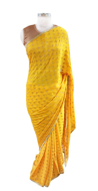 Yellow Khaddi Jequard Georgette Saree with Brocade Blouse Fabric ACC98