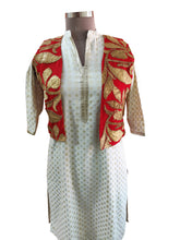 Load image into Gallery viewer, Red Gotta Embroidered Ethnic Jacket Shrug ACJ06 - Ethnic's By Anvi Creations