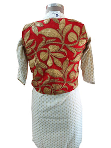 Red Gotta Embroidered Ethnic Jacket Shrug ACJ06 - Ethnic's By Anvi Creations