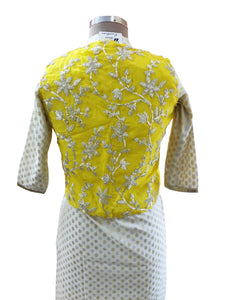 Yellow Gotta Embroidered Ethnic Jacket Shrug ACJ07 - Ethnic's By Anvi Creations