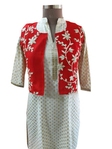 Red Gotta Embroidered Ethnic Jacket Shrug ACJ13 - Ethnic's By Anvi Creations