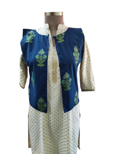 Blue Cotton Block Printed Ethnic Jacket ACJ17 - Ethnic's By Anvi Creations