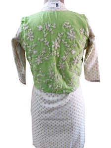 Light Green Gotta Embroidered Ethnic Jacket Shrug ACJ19 - Ethnic's By Anvi Creations