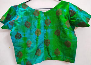 Designer Shaded Green Raw Silk Ready to Wear Blouse Crop Top ACP11 - Ethnic's By Anvi Creations
