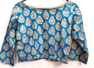 Designer Firozi Blue Peacock Motif Brocade Ready to Wear Blouse ACP13 - Ethnic's By Anvi Creations