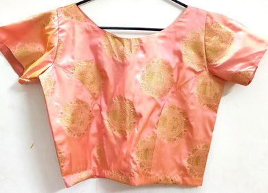 Designer Peach Silk Ready to Wear Long Blouse Crop Top ACP16 - Ethnic's By Anvi Creations