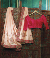Designer Pinkish Peach Embroidered Saree with Raw Silk Blouse Fabric 410