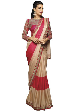 Designer Beige Pink Crepe Saree with Embroidered Blouse Fabric 405 - Ethnic's By Anvi Creations