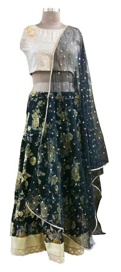 Black Floral Lehenga Choli with Brocade Cotton Crop top and Sequin Dupatta ALC01 - Ethnic's By Anvi Creations
