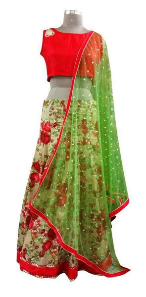 Beige Red Floral Lehenga Choli with Raw Silk Crop top and Sequin Dupatta ALC04