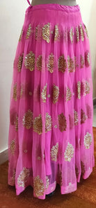 Designer Heavy Embroidered Purplish Pink Ready To Wear Lehenga Skirt Only ALC24