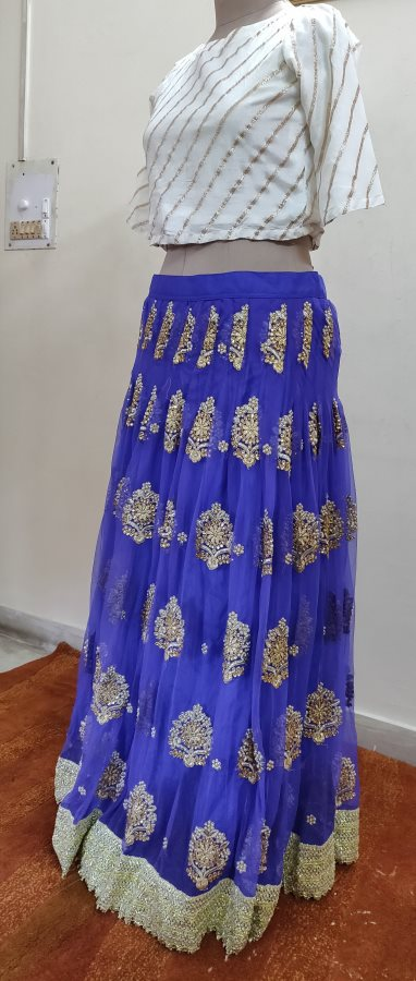Designer Heavy Embroidered Royal Blue Ready To Wear Lehenga Skirt Only ALC27