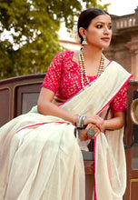 Load image into Gallery viewer, Designer Off White Linen Cotton Embellished Saree with Mask ANT7006