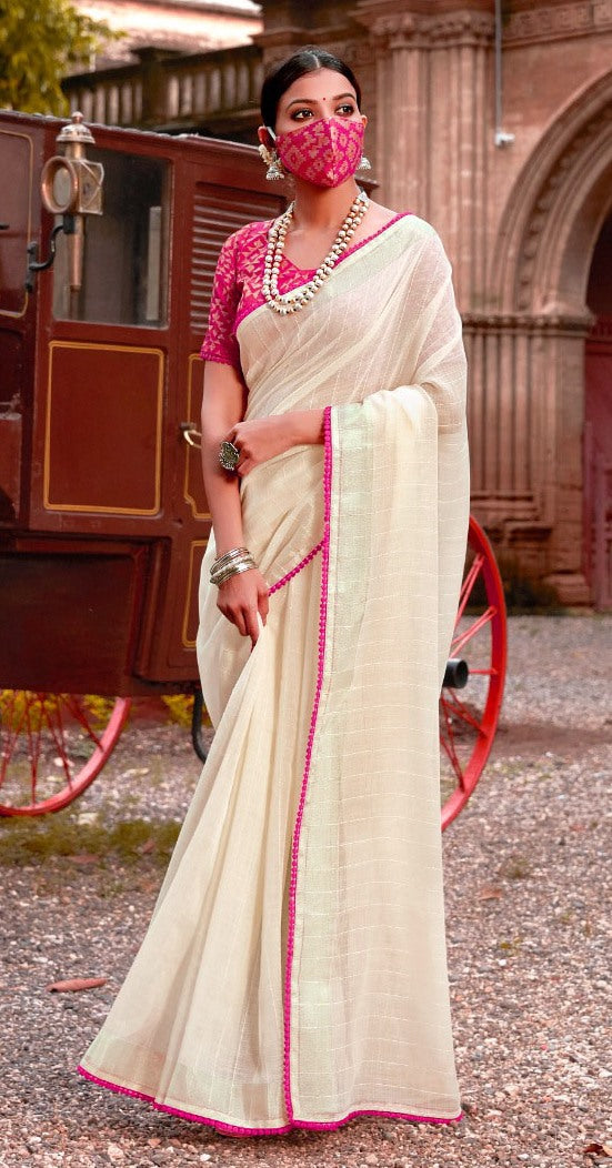 Designer Off White Linen Cotton Embellished Saree with Mask ANT7006