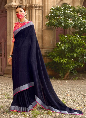 Designer Black Linen Cotton Embellished Saree with Mask ANT7009
