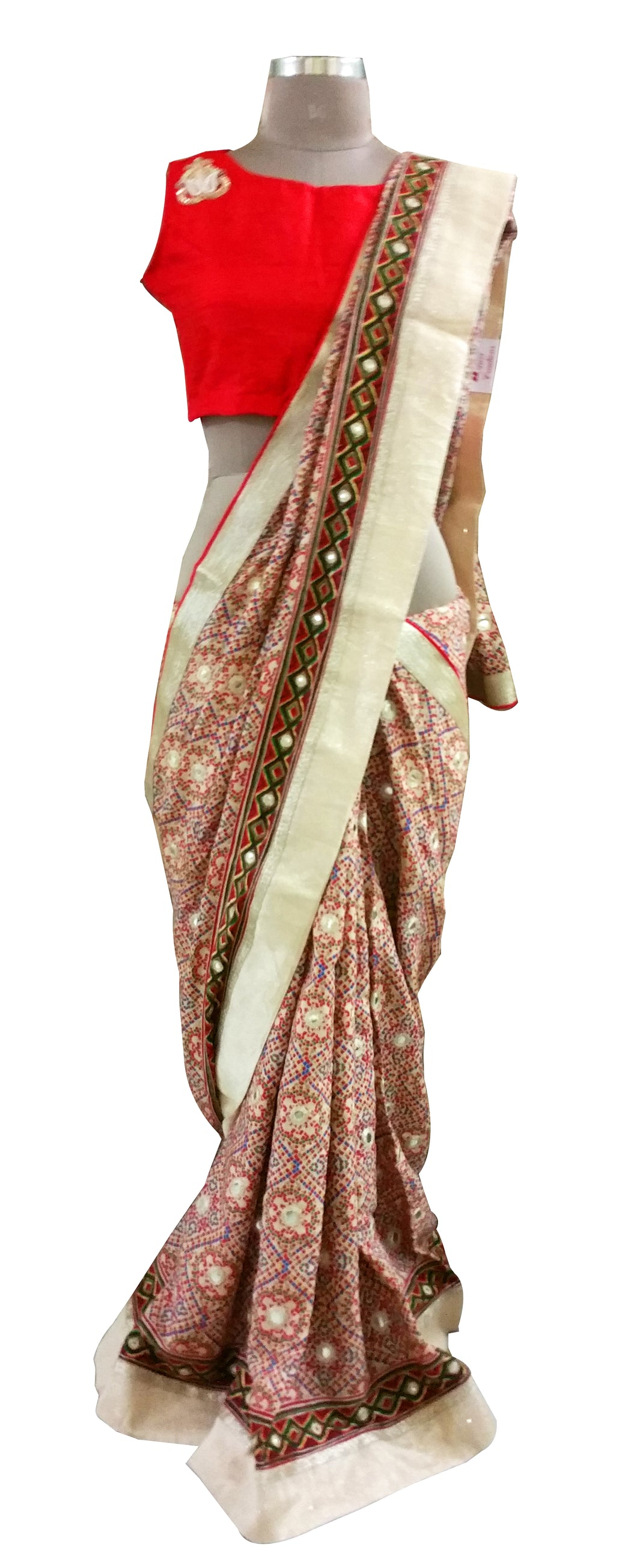 Red Pashmina Cotton Embridered Saree With Raw Silk Blouse APS63