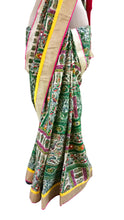 Load image into Gallery viewer, Green Pashmina Cotton Embridered Saree With Raw Silk Blouse APS64