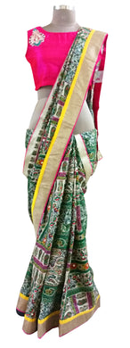 Green Pashmina Cotton Embridered Saree With Raw Silk Blouse APS64
