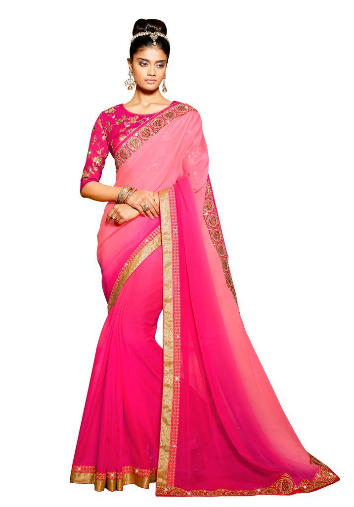 Exclusive chiffon Pink Border saree with Designr Blouse Fabric SC3004 - Ethnic's By Anvi Creations