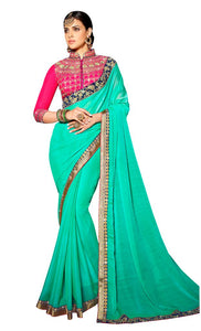 Exclusive Chiffon Green Border Saree With Dsigner Blouse Fabric SC3005 - Ethnic's By Anvi Creations
