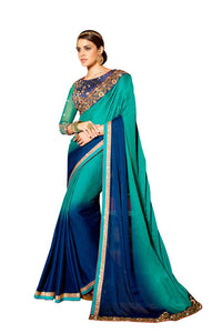Exclusive Faux Georgette Blue Saree With Dsigner Blouse Fabric SC3007 - Ethnic's By Anvi Creations