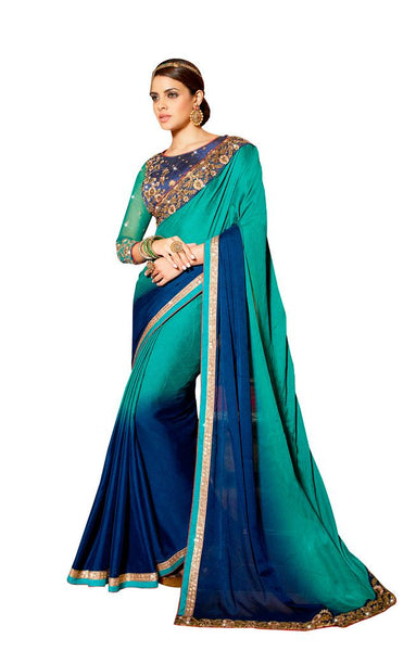 Exclusive Faux Georgette Blue Saree With Dsigner Blouse Fabric SC3007